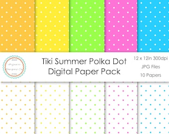 Tiki Summer Polka Dot Digital Paper Pack | Digital Paper, Scrapbook Paper, Printable Paper, Digital Scrapbook | Instant Download