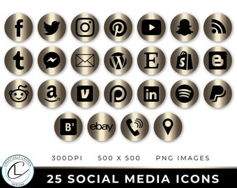 25 Social Media Icons | Gold Metallic Social Media Icons, Social Media Buttons, Blog Icons, Website Icons,  | Instant Download