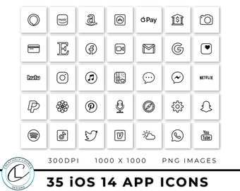 35 White and Black iOS 14 App Icons   iOS 14 Icons, Black and White Icons, Black and White iOS 14 Icons, Aesthetic Icons   Instant Download