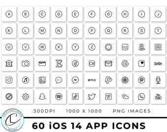 60 White and Black iOS 14 App Icons | iOS 14 Icons, Black and White Icons, Black and White iOS 14 Icons, Aesthetic Icons | Instant Download