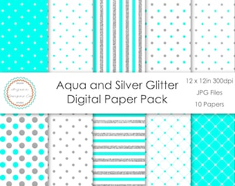 Aqua and Silver Glitter Digital Paper Pack | Digital Paper, Scrapbook Paper, Printable Paper, Digital Scrapbook | Instant Download