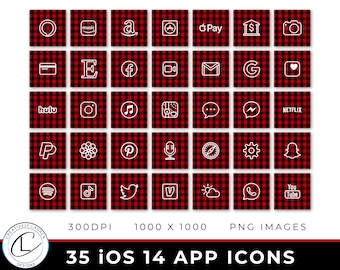 35 Buffalo Plaid iOS 14 App Icons   iOS 14 Icons, Buffalo Plaid Icons, Holiday iOS 14 Icons, Christmas iOS 14 Icons   Instant Download