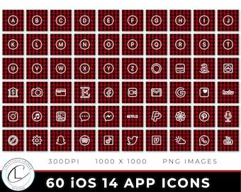 60 Buffalo Plaid iOS 14 App Icons   iOS 14 Icons, Buffalo Plaid Icons, Holiday iOS 14 Icons, Aesthetic Icons   Instant Download