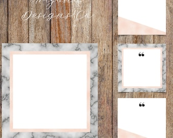 Marble and Pink Foil Instagram Quotes Template Pack | Instaquotes, Social Media Design, Social Branding | Instant Download