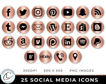 25 Social Media Icons | Rose Gold Metallic Social Media Icons, Social Media Buttons, Blog Icons, Website Icons,  | Instant Download