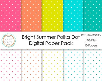 Bright Summer Polka Dot Digital Paper Pack | Digital Paper, Scrapbook Paper, Printable Paper, Digital Scrapbook | Instant Download