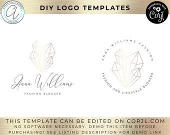 Crystal Logo Design | DIY Logo Design, Fashion Logo, Photography Logo, Beauty Logo, Beauty Blogger, Premade Logo, Logo Template | Editable
