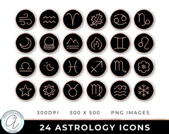 24 Astrology Icons | Rose Gold Astrology Icons, Astrology Buttons, Zodiac Icons, Rose Gold Zodiac, Rose Gold Icons | Instant Download