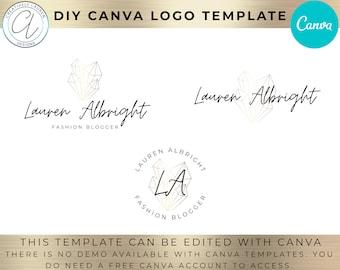 Crystal Logo Canva Template | DIY Logo Design, Photography Logo, Fashion Logo, Beauty Logo, Astrology Logo, Boutique Logo | Editable