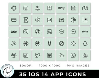35 Sage iOS 14 App Icons   iOS 14 Icons, Sage Icons, Sage Social Media Icons, Aesthetic Icons, Neutral iOS 14 Icons   Instant Download