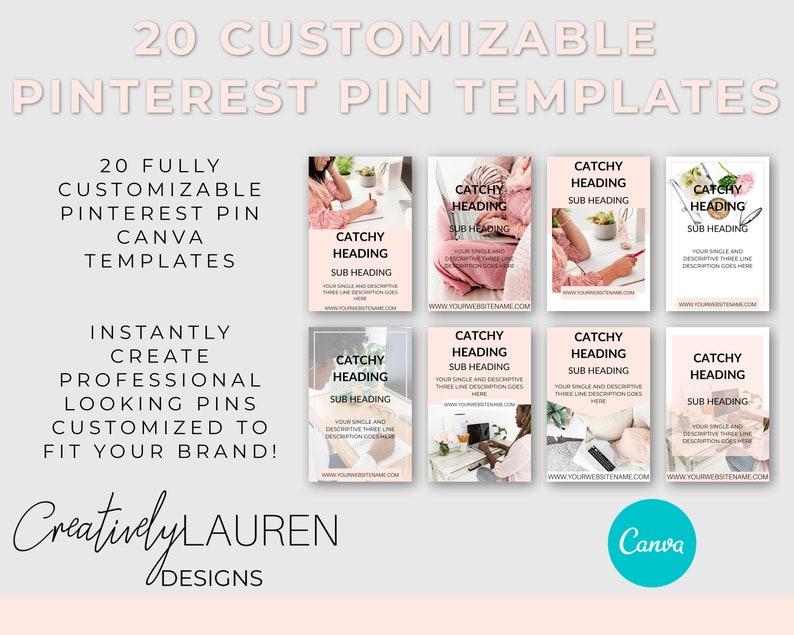 20 Customizable Pinterest Pin Canva Templates  Feminine image 0