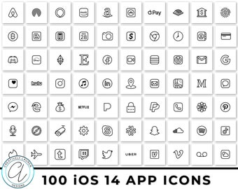 100 White and Black iOS 14 App Icons | iOS 14 Icons, Black and White Icons, Black and White iOS 14 Icons, Aesthetic Icons | Instant Download