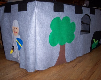 Castle Tablecloth Fort, Knights, Dragons, Play Tent, Felt Fort, Table Cloth Fort, Gifts for boys, Gifts for Girls, Play House