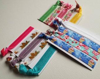 Mixed hair tie elastics - 3 sets multicolour mix - lotus flowers, cherry blossom, princess, paisley, plains and glitter