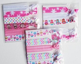 Mixed hair tie elastics - 3 sets of 5 - pink & white mix - cupcakes, monkeys, babushka, snowflakes, chevrons