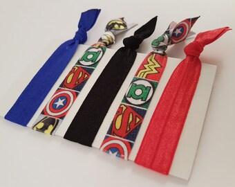 Superhero hair ties, superhero hair elastics, superhero arm bands wrist bands