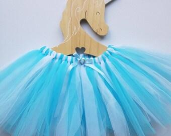 Girls fairy tutu skirt ~ Sz 5-8 - Daydream. Blue and white frozen ice colours.