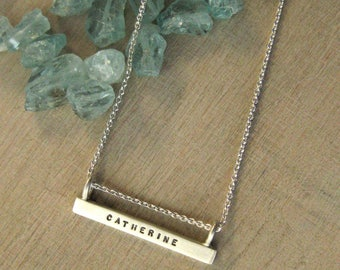 Long Silver Bar Necklace, ID Necklace, Name Necklace, Identification Necklace, ID Jewelry