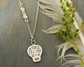 Day of The Dead Sugar Skull Necklace, Silver Sugar Skull Charm, Sugar Skull and Bone Necklace