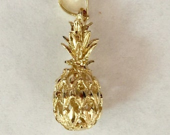 14k solid gold pineapple hawaii sm pendant