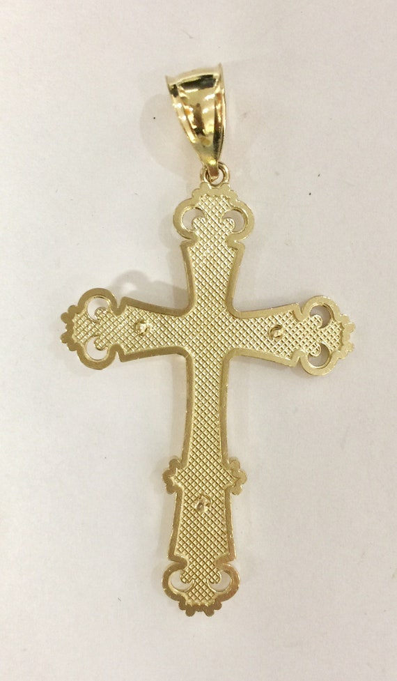 Silver Yellow Plated Mariners Cross//Crucifix Charm 59mm