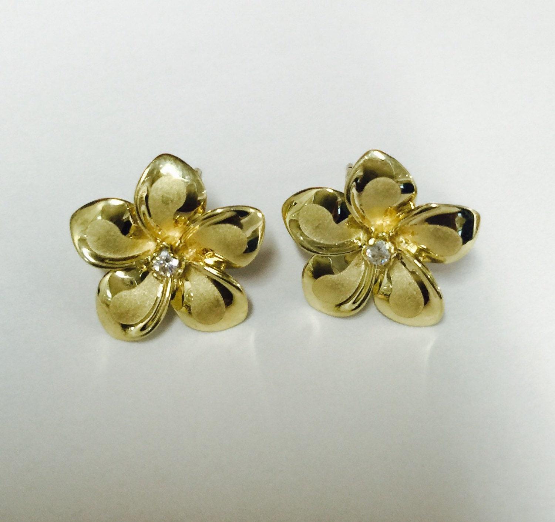 14k Yellow Gold Hawaiian Plumeria Flower Stud Earrings 12mm Etsy