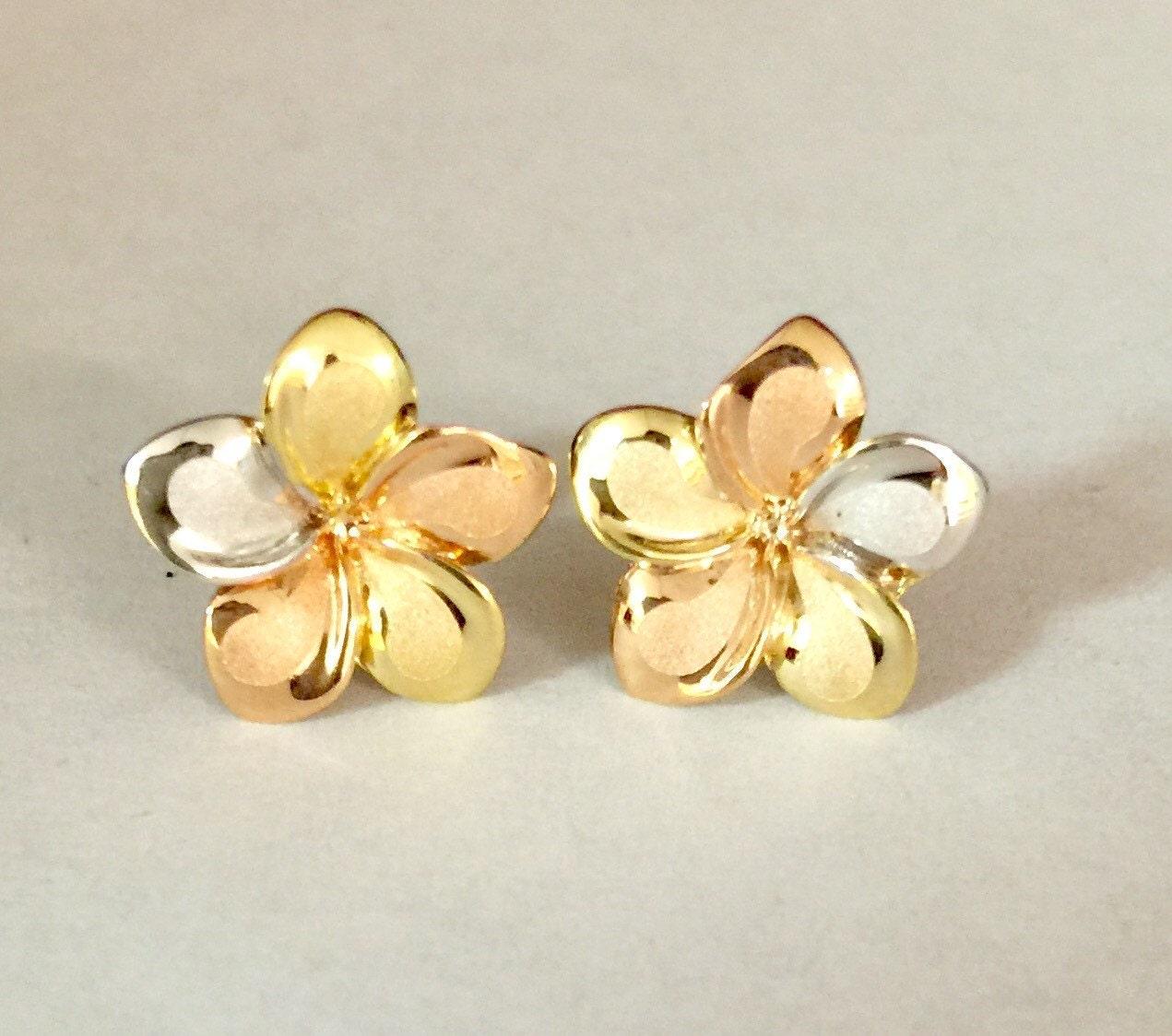 14k Tri Color Gold Flower Pendant Charm
