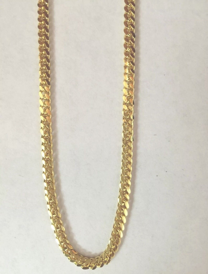 925 Sterling Silver Miami Cuban Chain Necklace 4mm In Yellow Gold Finish 24-30/""