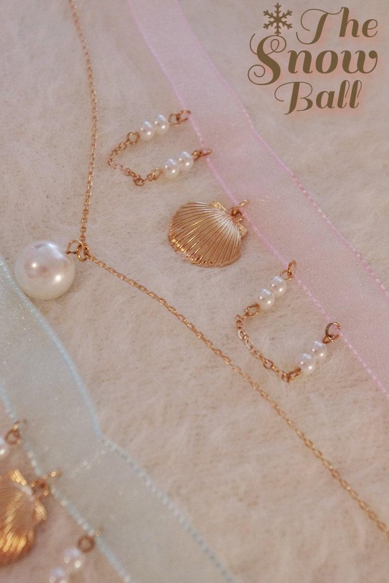 Little mermaid shell pearl double chain choker ribbon necklace kawaii harajuku anime lolita