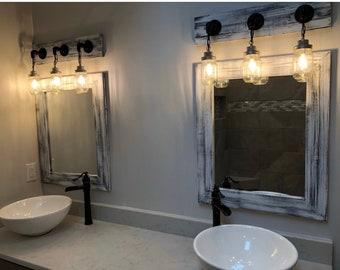 Rustic Mirrors For Bathrooms | Gray Whitewash Mirror Grey Decor Vanity Mirrors Bathroom Etsy