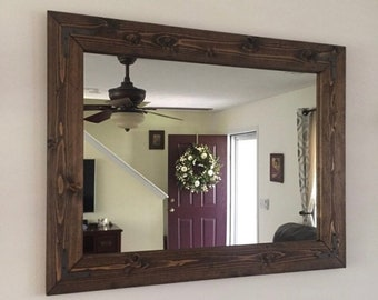 ESPRESSO Farmhouse Mirror, Country Wood Frame Mirror, Wood Mirror, Bathroom  Mirror, Wall Mirror, Vanity Mirrors, Cottage Small Large Mirror