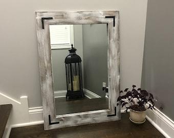 rustic wood mirror round whitewash wood mirror frame rustic bathroom wall vanity small large mirror etsy