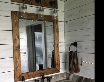 dark walnut farmhouse mirror country framed mirror wood mirror bathroom mirror wall mirror vanity mirrors cottage small large mirror - Bedroom Mirrors
