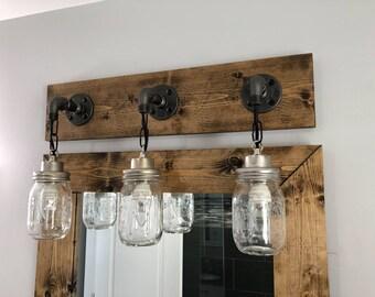 ESPRESSO vanité luminaire Style champêtre Mason Jar lumière | Etsy
