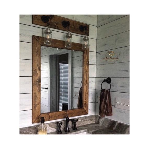 Dark Walnut Wood Framed Mirror, Rustic Wood Mirror, Bathroom Mirror, Wall Mirror, Vanity Mirror Large Mirror, Brackets Mirror, Modern Decor by Etsy
