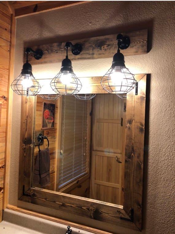 ESPRESSO Mirror And Light Set Bathroom Set Industrial | Etsy