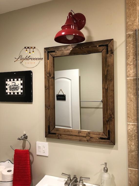 Dark Walnut Farmhouse Mirror Country Wood Frame Mirror Wood Etsy