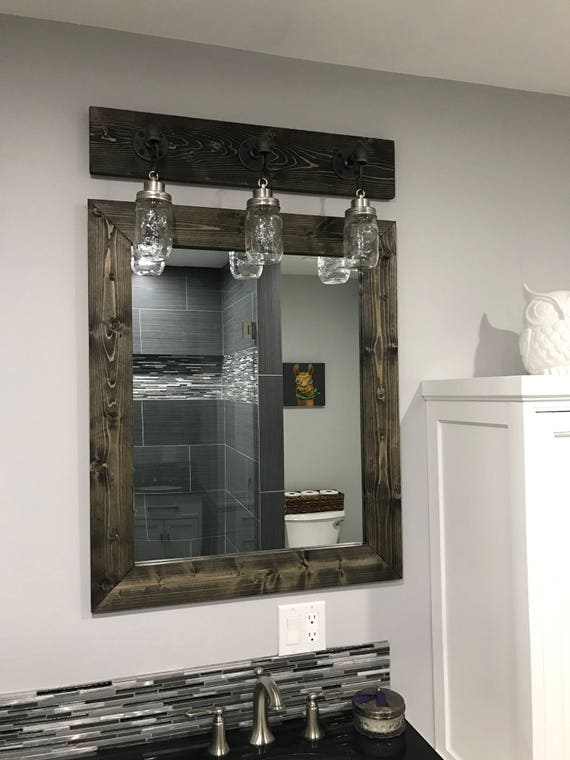 Rustic Wood Mirror Frame Intended Image Ebony Farmhouse Mirror Framed Rustic Wood Etsy