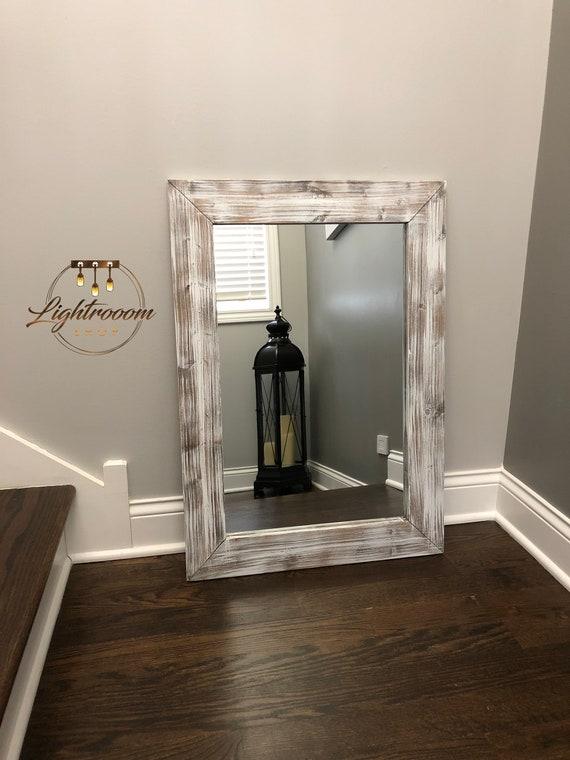 Whitewash Wood Frame Mirror Rustic, Wood Rustic Mirror