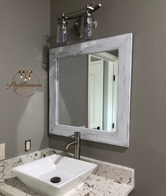 White Whitewash Wood Mirror Framed Mirror Rustic Wood Etsy