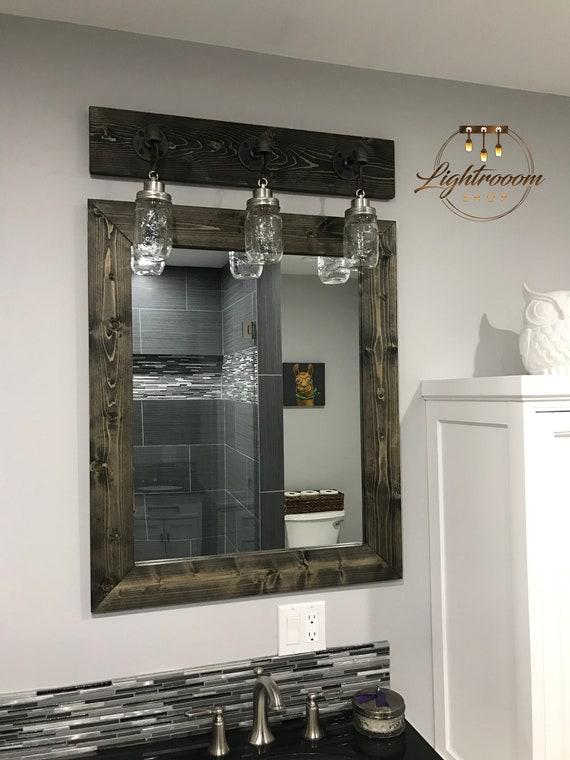 Ebony Mirror Distressed Wood Frame Mirror Rustic Wood Mirror Bathroom Mirror Wall Floor Mirror Vanity Mirror Reclaimed Farmhouse