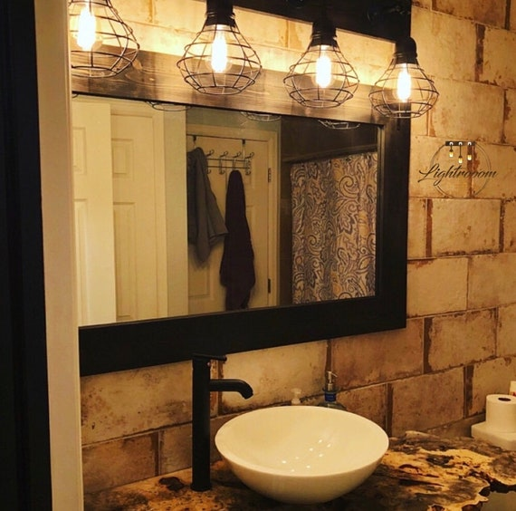 Black Mirror Farmhouse Wood Frame Mirror Rustic Wood Etsy