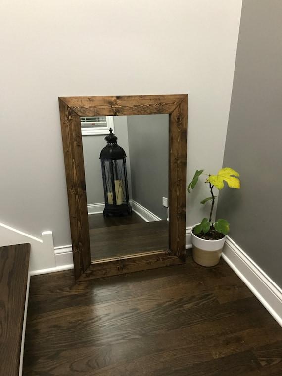 Etonnant ESPRESSO Mirror Farmhouse Wood Frame Mirror Rustic Wood | Etsy