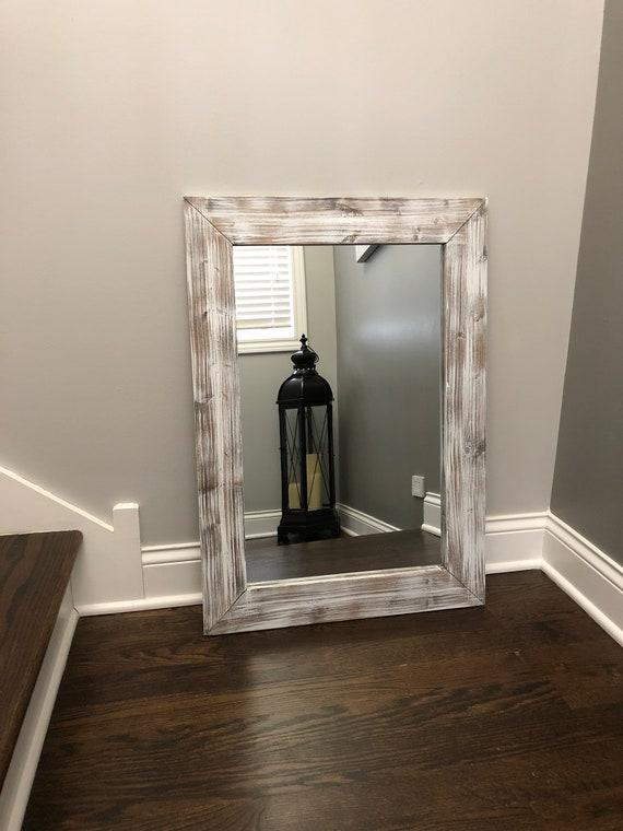 Whitewash Wood Wood Frame Mirror Rustic Wood Mirror Etsy