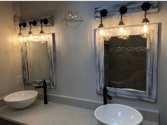 Gray Whitewash Mirror Grey Decor Vanity Mirrors Bathroom Etsy