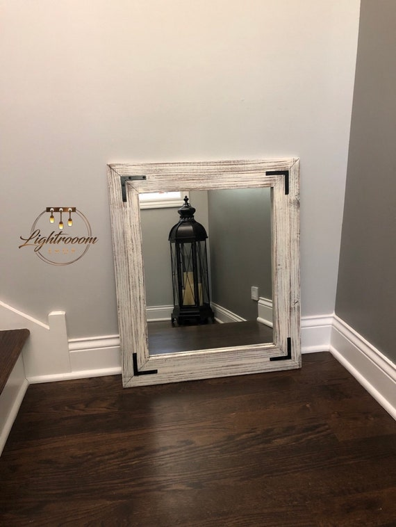 Antique White Mirror Bathroom Mirror Farmhouse Decor Rustic Etsy