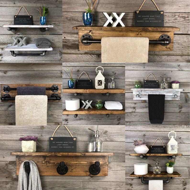 Kitchen Rustic Wall Decor Pipe Holder with Wood Shelf Kitchen Towel Bar Bathroom ANTIQUE WHITE 5,5 Deep Industrial Rustic Towel Rack
