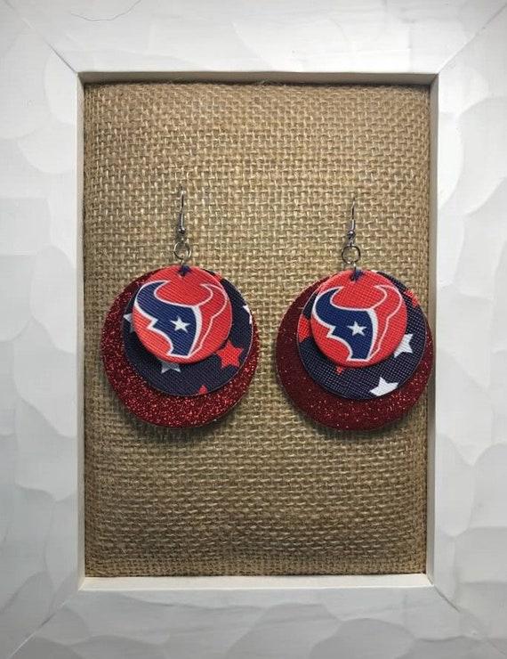 Shipping* JCo.Danseur Shoes Houston Texans Women/'s Custom Football Ruby Red Royal Blue White Glittered Ballet Flats *Free U.S