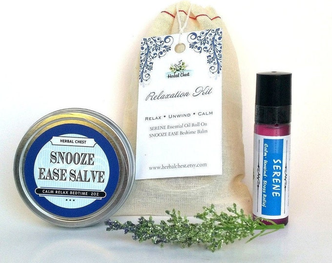 Featured listing image: Relaxation Gift Bulk Stress Relief Self Care Kit, Sleep Aid Herbal Balm Essential Oil Blends Roller Set Care Package, Eco Friendly Packaging