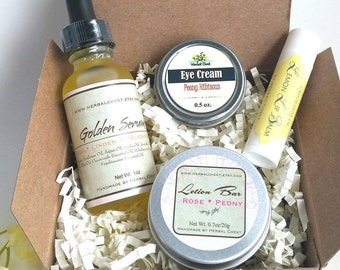 Botanical Skin Care Natural Beauty Gift Set - Herbal Apothecary Box, Face Serum, Eye Cream, Lip Balm, Lotion Bar - Eco Friendly Packaging